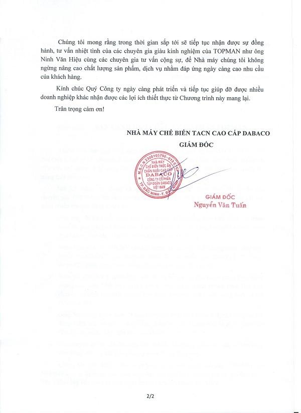 dabaco1 CẢM NHẬN CỦA KHÁCH HÀNG VỀ DỊCH VỤ CỦA TOPMAN
