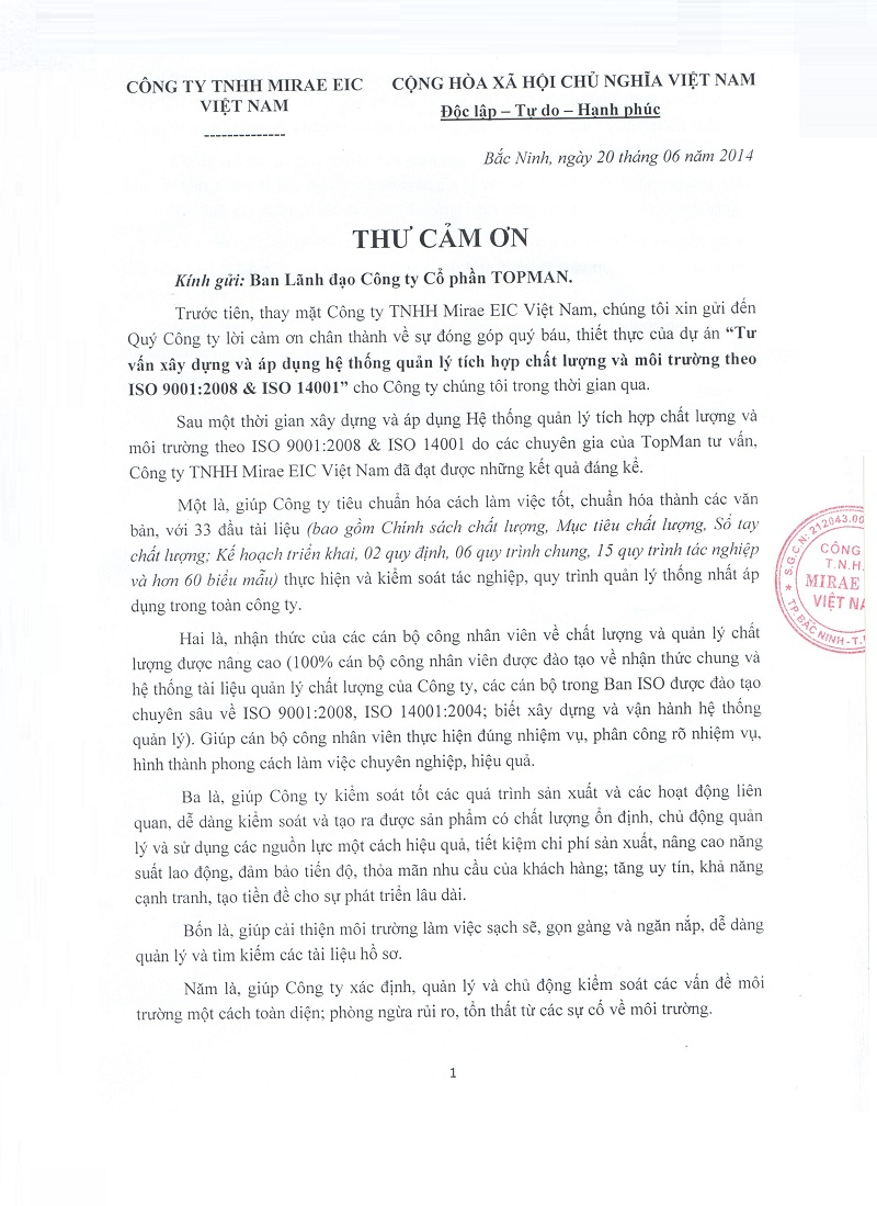 mirae 003 CẢM NHẬN CỦA KHÁCH HÀNG VỀ DỊCH VỤ CỦA TOPMAN