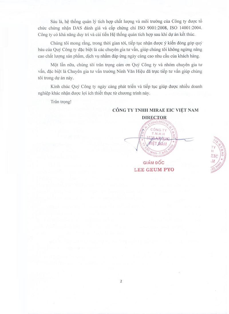 mirae 004 CẢM NHẬN CỦA KHÁCH HÀNG VỀ DỊCH VỤ CỦA TOPMAN